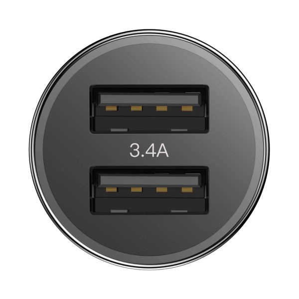 Baseus Small Screw 3.4A Dual-USB Car Charger Black (CAXLD-C01)