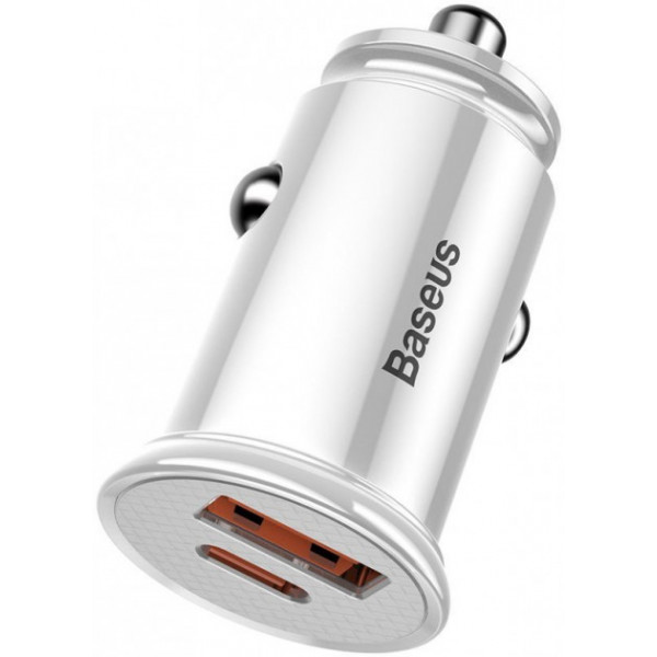 Baseus Usb Car Charger Usb 3.0+USB-C 30W White (CCALL-YS02)