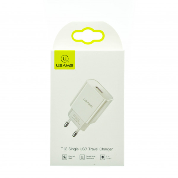 USAMS Single USB Travel Charger 2.1A (T18)