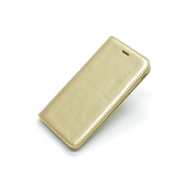 Чехол Книжка iPhone Х золотой (New Case)