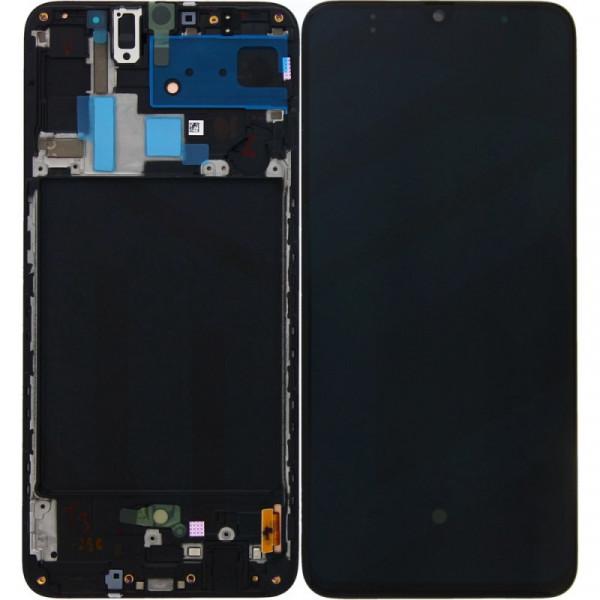 Дисплей Samsung A705F (A70) в сборе с тачскрином Черный - Оригинал в рамке