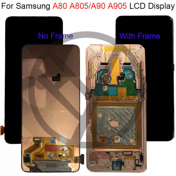 Дисплей Samsung A805 (A80) в сборе с тачскрином Серебро Оригинал в рамке