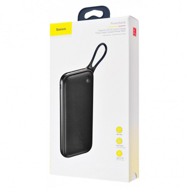 Baseus QC3.0 Quick Charge Three Ouput Lanyard Power Bank