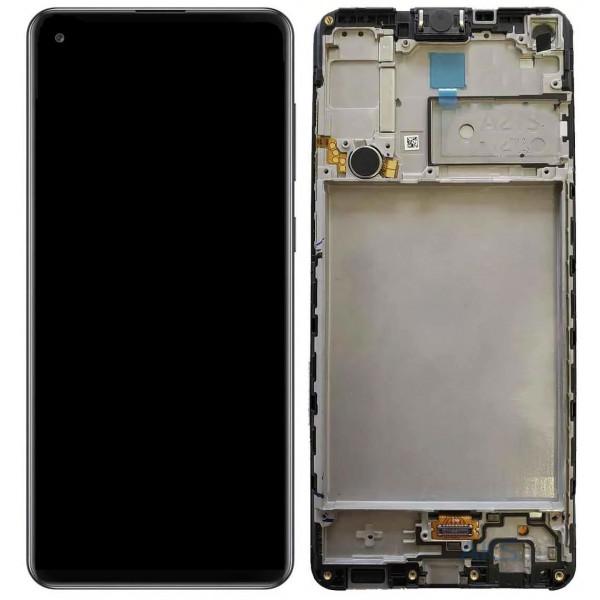 Дисплей Samsung A217 (A21s) в сборе с тачскрином Черный - Оригинал в рамке