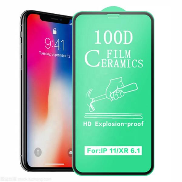 Защитное керамическое стекло чёрное Iphone XR/11