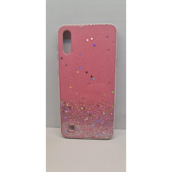 Чехол силиконовый Samsung A10 с блёстками розовый