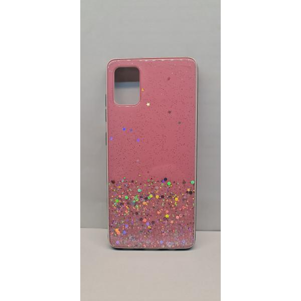 Чехол силиконовый Samsung A51/M40S с блёстками розовый