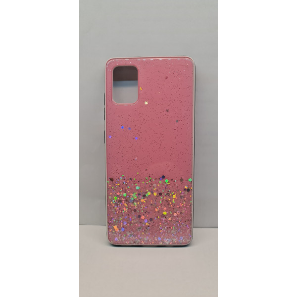 Чехол силиконовый Samsung A31 с блёстками розовый