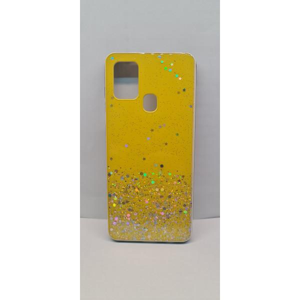 Чехол силиконовый Samsung A21S с блёстками жёлтый