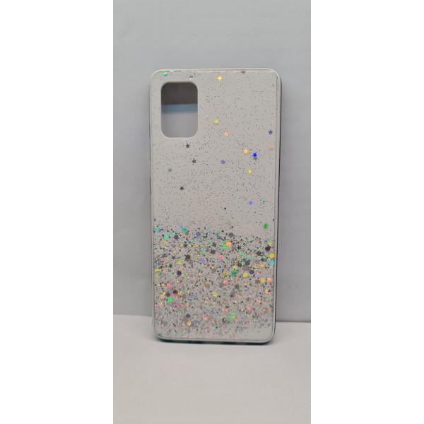 Чехол силиконовый Samsung A71 с блёстками белый