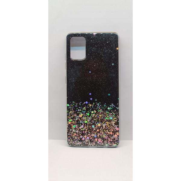 Чехол силиконовый Samsung A71 с блёстками чёрный