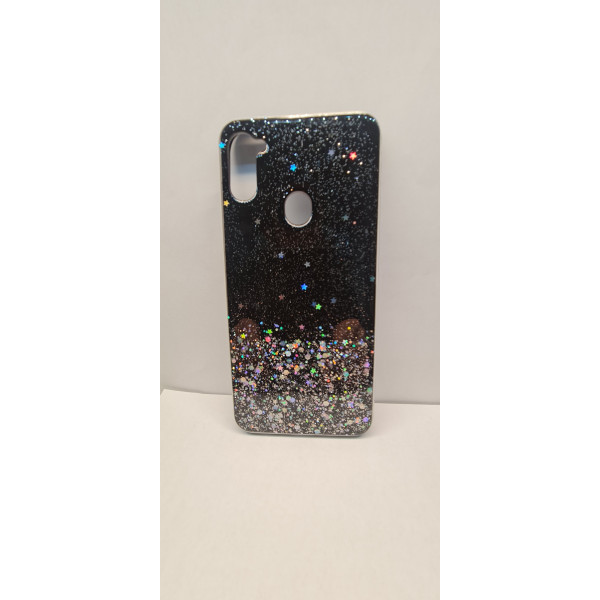 Чехол силиконовый Samsung A11/M11 с блёстками чёрный