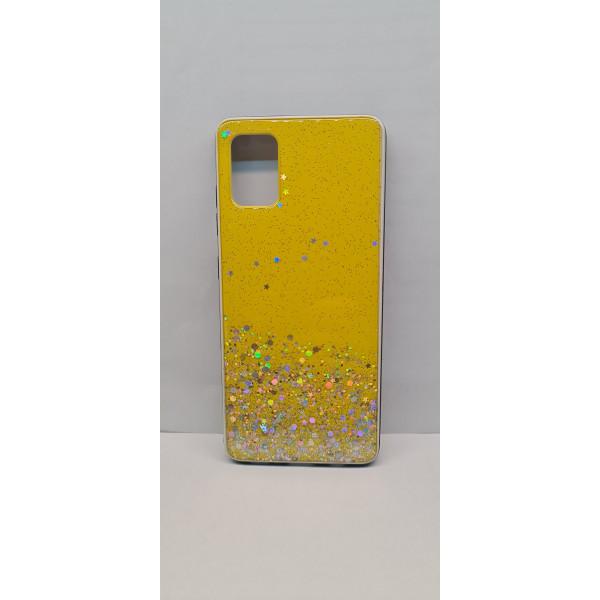 Чехол силиконовый Samsung A01/M01 с блёстками желтый