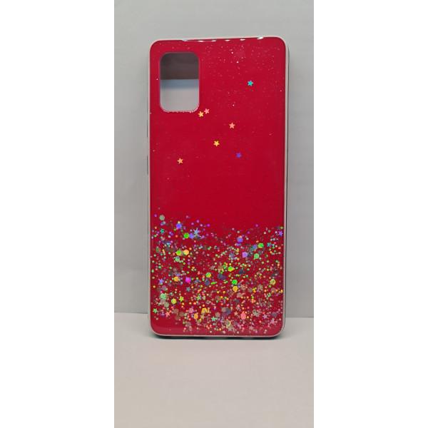 Чехол силиконовый Xiaomi Redmi Note 8 с блёстками красный