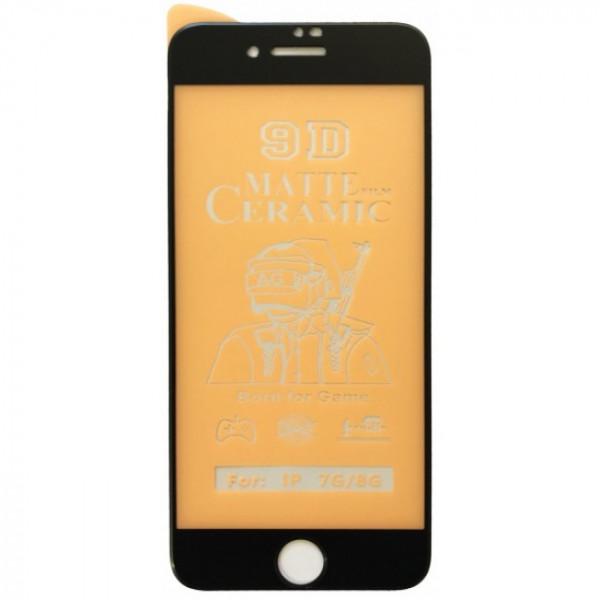 Защитное керамическое стекло чёрное Iphone 7P/8P (Matte)