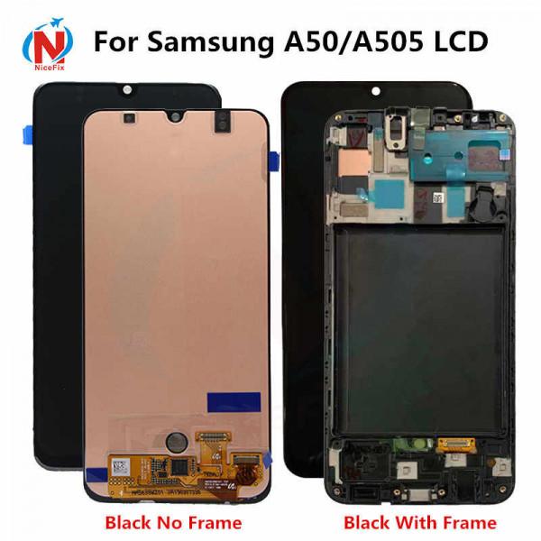 Дисплей Samsung A505F (A50) в сборе с тачскрином Черный - Oled в рамке