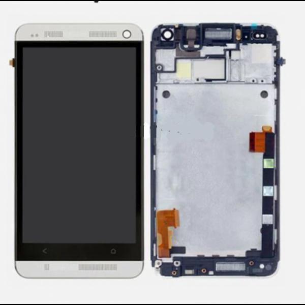 Дисплей HTC One/M7 в сборе с тачскрино Серебро в рамке