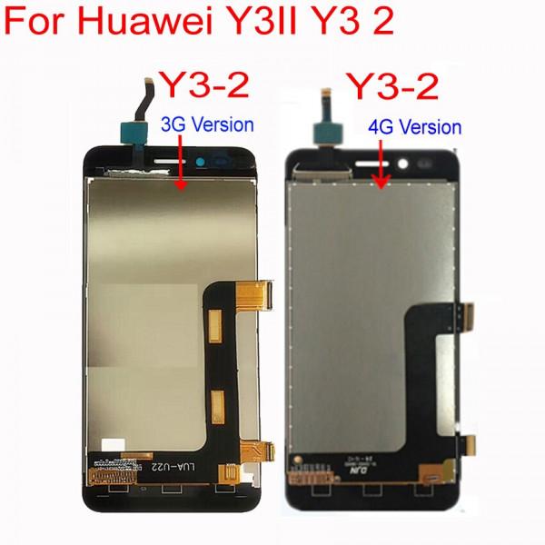 Дисплей Huawei Y3 II LTE (LUA-L21) прямой шлейф в сборе с тачскрином Черный